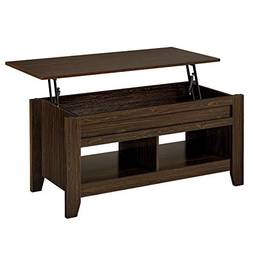 YAHEETECH Lift Top Coffee Table with Hidden Storage Compartment & Seperated Lower Shelf, Rising Tabletop Dining Table for Living Room, 24.2in H, Espresso