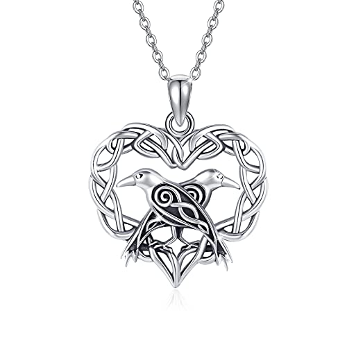 Viking Raven Necklace 925 Sterling Silver Celtic HeartCrow Raven Pendant Necklace Wiccan Jewelry Gifts for Women Men