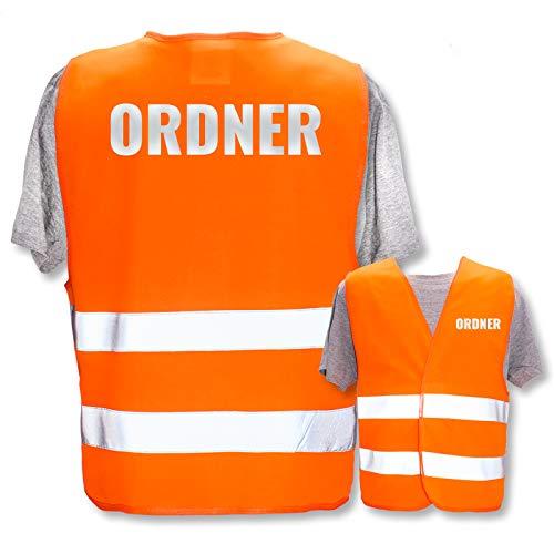 Bedruckte Warnwesten mit ISO-Leuchtstreifen * Standard- oder Reflex-Druck * Thema Sicherheit & Team, Warnweste Begriffe Security:Ordner (Reflektierend), Farbe + Größe:Orange (XL/XXL)