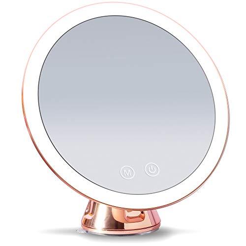 Fancii wiederaufladbarer Vergrößerungsspiegel mit 3 dimmbaren LED Lichteinstellungen, 10 facher Vergrößerung, Starker Saugnapf, 20cm beleuchteter Make-Up Kosmetikspiegel mit Blendfreier Licht (Lana)