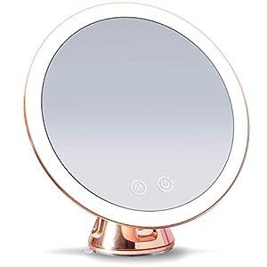Fancii Espejo de Aumento Recargable 10x con 3 Configuraciones de Luz LED y Ventosa - 20 cm Espejo de Maquillaje Iluminado, Luz Regulable, Rotación 360°, Oro Rosa Metalizado (Lana)