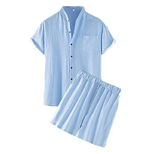 Shirt Pantalones Cortos Hombres Verano Color Sólido Tapeta con Botones Hombres Conjunto Bolsillos Ajuste Regular Shirt Manga Corta con Cordones Hawaii Hombres Conjunto De Playa F-Blue 1 XL