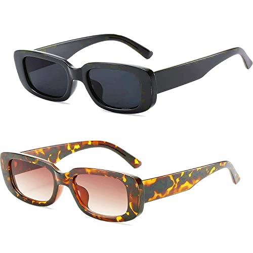 Bokueay Gafas de sol rectangulares de gran tamaño para mujer, gafas retro de 90 ', gafas de sol cuadradas pequeñas y estrechas de moda vintage (negro y carey)