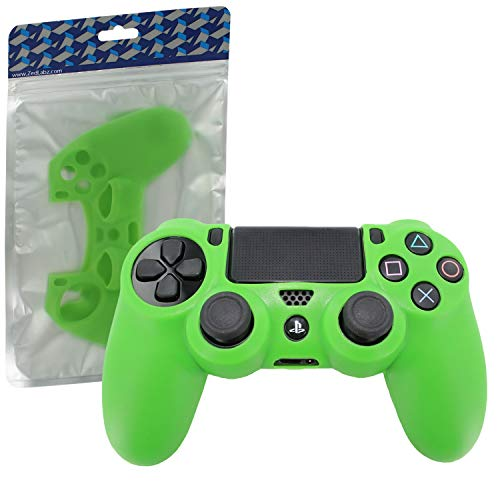 ZedLabz pro soft silicone skin grip protective cover for Sony PS4 controller rubber bumper case with ribbed handle grip  Playstation 4] (Green)