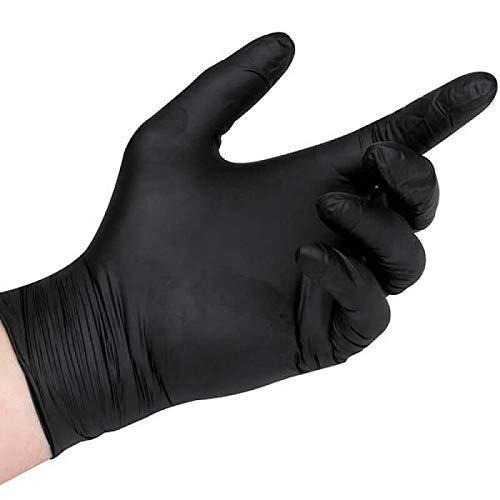 Guantes de nitrilo desechables, color negro, sin polvo (caja), L, Negro , 1