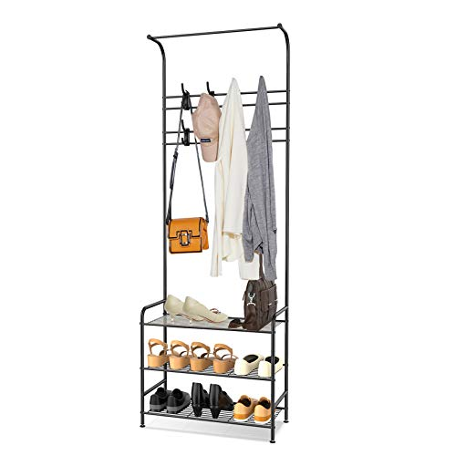 alvorog Coat Rack Stand with Removable 16 Hooks and 3-Tier Shoe Stand, Easy Assembly and Rustproof,Height 180cm, Coat Stand Can Keep Your Clothes and Items Organised and Easy to Access(black)