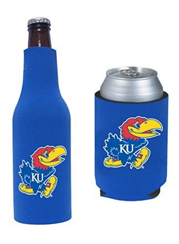 College Team Color Logo Can & Bottle Holder Insulator Beverage Cooler Set (Kansas) Jayhawks)