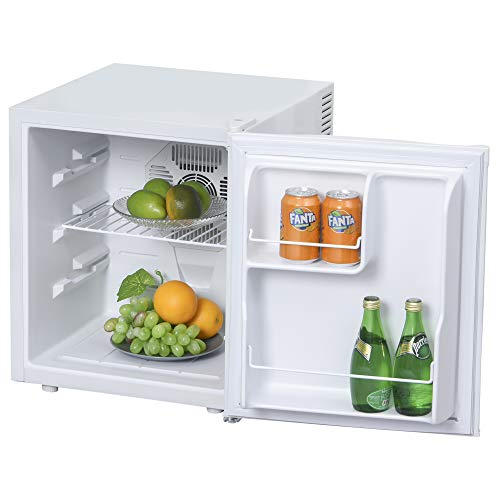 HOMCOM Mini Frigorífico Mini Bar Volumen 50 L Mini Nevera con Estante Extraíble Ajustable LED Ruido Mínimo de Eficiencia Energética 43x48x51 cm Blanco