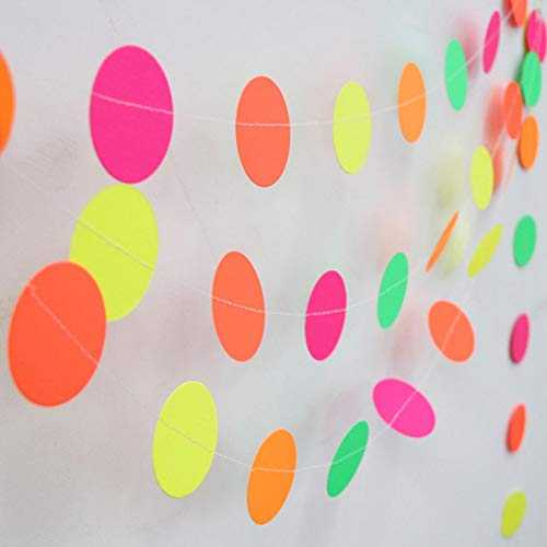 Tongdejing Tapes Banner, Garden Neon Tapes Banner Star Circle Dots Party Supply Black Light Halloween