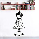 Wandtattoos Kleid Mädchen Wandkunst Wandbild Dekor Schaufensterpuppe Näherin Mode Wandaufkleber Schneider Shop Stoffständer Wandtattoo 42X88Cm