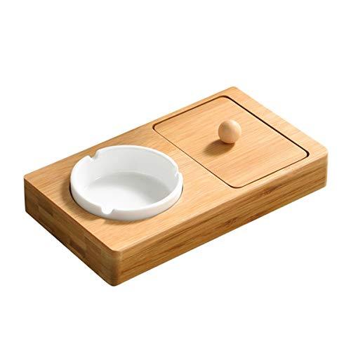 LIZANAN Decoración Cenicero Bandeja Inferior hogar Creativo de bambú Caja pequeña de...