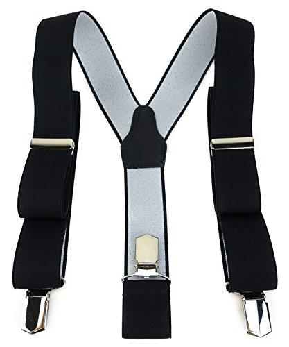 TigerTie Unisex Hosenträger in Y-Form mit 3 extra starken Clips - Farbe in schwarz einfarbig Uni - hochwertige Verarbeitung - Breite 35 mm