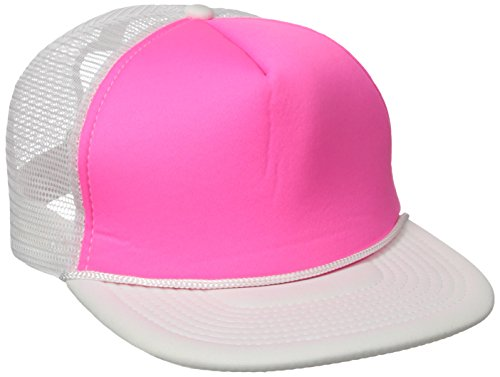 DECKY Flat Bill Neon Trucker Cap, White/Pink