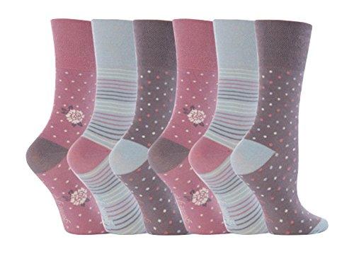 Gentle Grip - 6 Paar Damen Ges&heitssocken Ohne Gummi Diabetiker Druckfreie Handgekettelt Baumwollanteil Socken 37-42 EUR (GG01)
