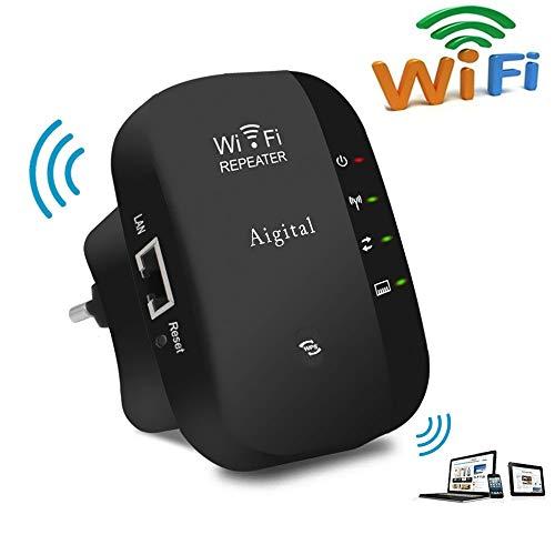 Aigital WLAN Repeater 300 Mbit/s WLAN Signal Verstärker Access Point WiFi Booster Range Extender (2,4 GHz, 1x Fast-Ethernet Port, WPS, Kompatibel mit Allen WLAN Geräten)