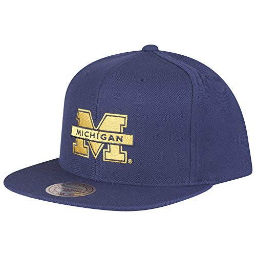 Mitchell & Ness Michigan Wolverines Snapback Cap - Core Wool Solid - Marineblau - Einstellbar