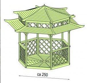 Cenador de madera para jardín, pagoda japonesa hexagonal, diámetro ...