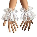 kdjsic Las mujeres falsas manos mangas muñeca puños volantes floral encaje elástico pulsera steampunk Lolita fiesta boda fiesta fiesta ropa