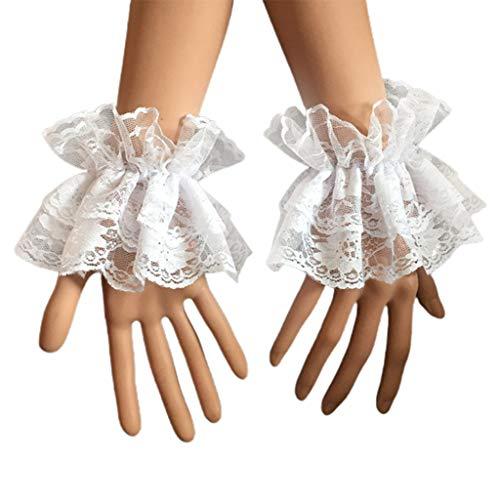 kdjsic Las mujeres falsas manos mangas muñeca puños volantes floral encaje elástico...