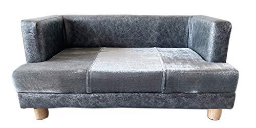 Hundesofa und Katzensofa Deluxe Designer dog sofa dog bed elegant in grey. Sturdy wooden frame construction 67 x 40 cm