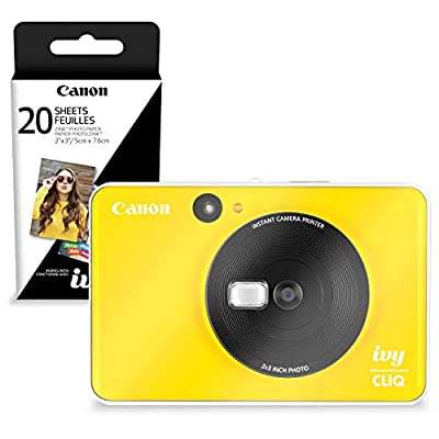 Canon Ivy CLIQ Instant Camera Printer (Bumble Bee Yellow) + 30 Sheets Photo Paper (USA Warranty) from PS