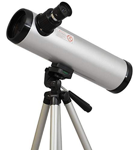 Twin Star 76mm Cassegrain Refractor Telescope 360mm Focal Length | 36x and 72x Magnification Eye Pieces and Aluminum Tripod Included | in Silver & Black | Great for Kids (Basic, Silver)