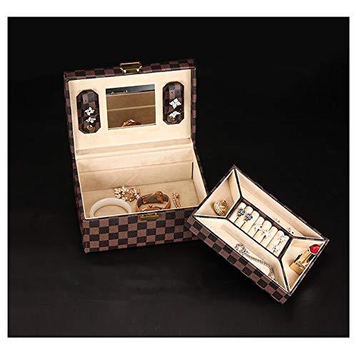 ZRYJWG Tragbare Reise-Schmuck-Box, Double Einfach Plaid PU-Leder Schmuckkasten for Ringe, Ohrringe, Halsketten, Armbänder Schmuck-Aufbewahrungsbehälter mit Spiegel