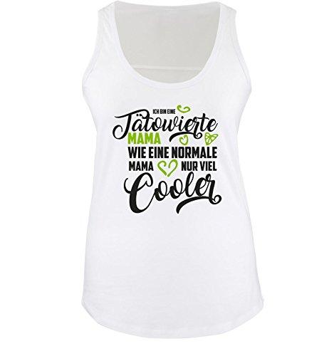 Comedy Shirts - Ich bin eine tätowierte Mama. Wie eine Normale Mama nur viel Cooler. - Damen Tank Top - Weiss/Schwarz-Grün Gr. XXL