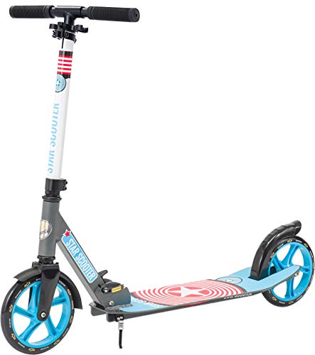 Star-Scooter Patinete Patineta Scooter Plegable XXL para niños y niñas a Partir de 6-7 años y Adultos para Ciudad | 205 mm Edición mas Ancha, con más Espacio para los pies | Gris & Azul