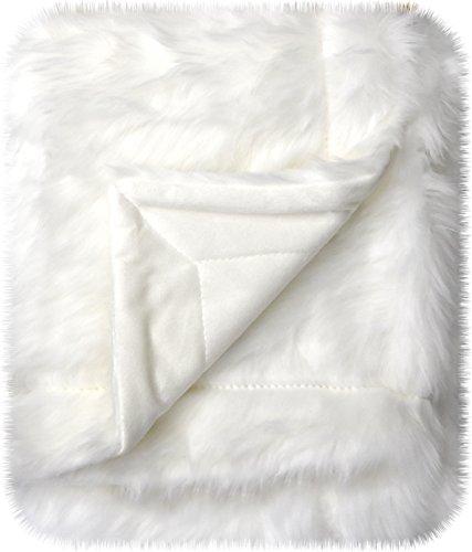 Little Starter Manta de bebé Mongol, Blanco, 76.2 cm x 101.6 cm