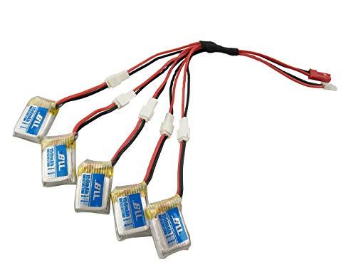 F-Mingnian-rsg Batteria per Drone 5PCS 3. 7V 150mah Batteria al Litio e Linea di conversione di Carica 5in1 per Batteria per aeromobili JJRC H36 E010 NIHUI NH010