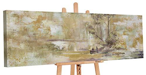 YS-Art Premium | Dipinti a Mano Colori Acrilici Relax | Quadro Dipinto a Mano | 150 x 50 cm | Pittura | Dipinti Modern | Quadri Dipinti a Mano | Beige | PS 054