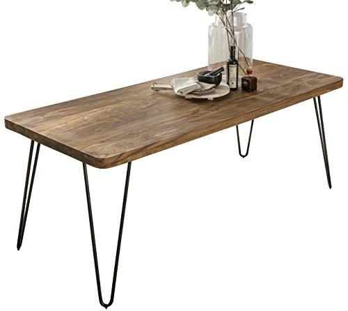 FineBuy Massiver Esstisch Harlem 120 x 80 cm Sheesham Massiv Holz | Esszimmertisch Massivholz mit Design Metall Beinen | Holztisch Tisch Esszimmer | Küchentisch