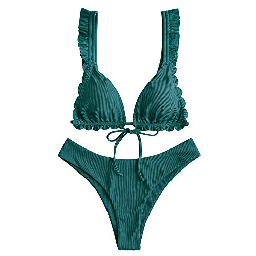 ZAFUL Women's Spaghetti Strap Tie Back Ruffle Triangle Bikini Set Swimsuit (C-Greenish Blue, S)