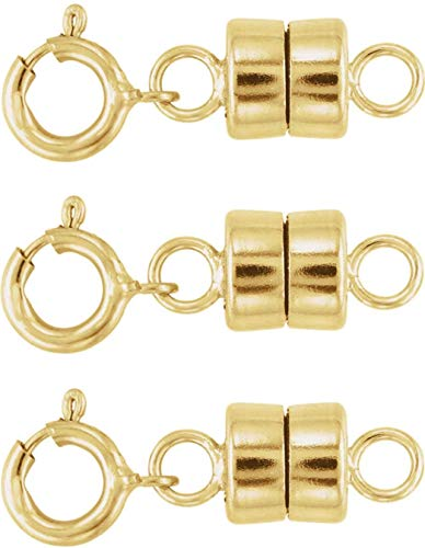 Sparik Enjoy Magnetic Clasp Converter for Necklaces or Bracelets - 3 pcs 14K Yellow Gold, Yellow Gold Filled or Sterling Silver (3 pcs 14K Gold)