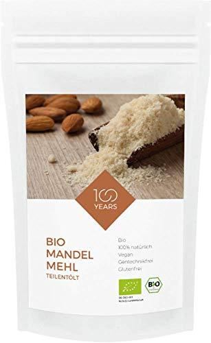 100years - Bio Mandelmehl teilentölt 1000g - 100% BIO-Qualität (DE-ÖKO-003) - ballaststoffreich - proteinreich - glutenfrei - vegan - wiederverschließbarer Kraftpapierbeutel