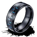 メンズ リング タングステン ブルー メッキ リング 炭素繊維 指輪 耐久性 高級 メッキ リング 幅 8mm カラー:ブルー(メッキ) 色落ちしない (8)