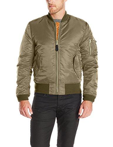 Alpha Industries Men's Slim-European Fit MA-1 Flight Jacket (L, Vintage Olive)