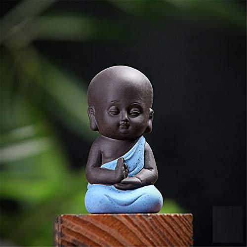 FFDGHB Nette Kleine Buddha Statue MöNch Statue Indische Buddha Statue Dekoration Blumentopf Tee Zeremonie Holz Wurzel Schnitzen Ornament (2 StüCke) 7 * 4,2 * 3,5 cm