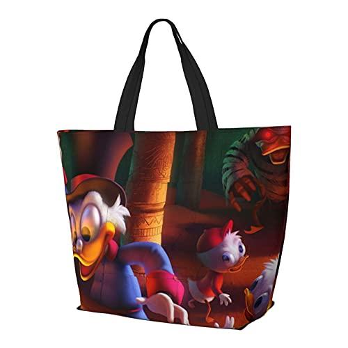 Donald Duck Multifuncional plegable y reutilizable de gran capacidad con cremallera para mujer, bolsa de hombro, bolsa de compras, bolsa de viaje, bolsa de ordenador