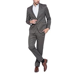スーツ メンズ 上下セット 2つボタン オーダーメイド チャコール ビジネスカジュアル,L,チャコール