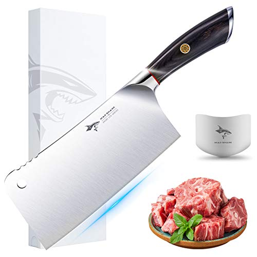 Butcher knife - MAD SHARK Pro Heavy-duty Cleaver Knives 7.5 Inch Chopper-Cleaver-Butcher Knife, German High Carbon Stainless Steel Knife with Ergonomic Handle, Chinese Chefs Knife, Best Choice for Kit