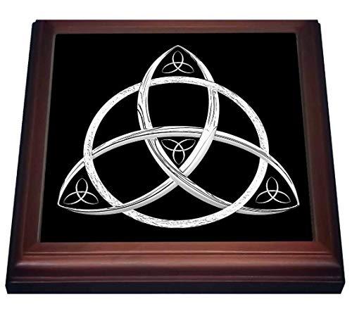 3dRose A white on black triquetra Celtic trinity knot symbol. - Trivets (trv_333409_1)