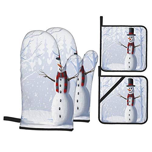 Juego de 4 Guantes y Porta ollas para Horno Resistentes al Calor Muñeco Nieve Bosque Cubierto Nieve Ilustración Invierno Navidad para Hornear en la Cocina,microondas,Barbacoa