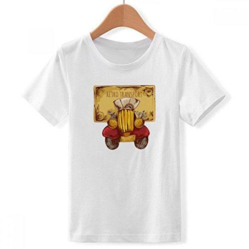 DIYthinker De Dibujos Animados Retro Transporte de Coches de época bretaña, Reino Unido de Cuello Redondo Camiseta para Chico Multicolor Grande
