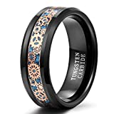 Shuremaster 8mm Mens Tungsten Ring Steampunk Gear Wheel Carbon Fiber Inlay Wedding Band Comfort Fit Size 7-13