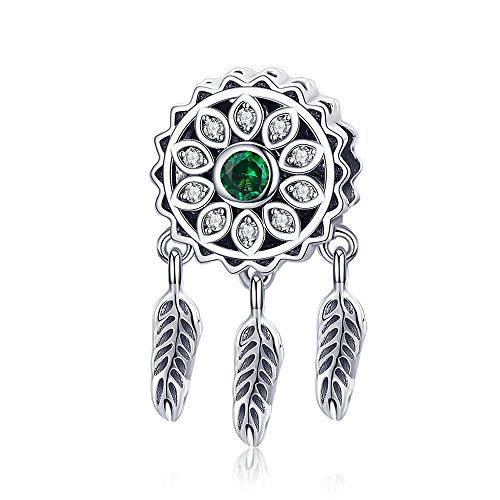 Green Dream Catcher Hot Sale 925 Sterling Silver Vintage Dream Catcher Charms Beads fit Women Silver Bracelets DIY Jewellery Making