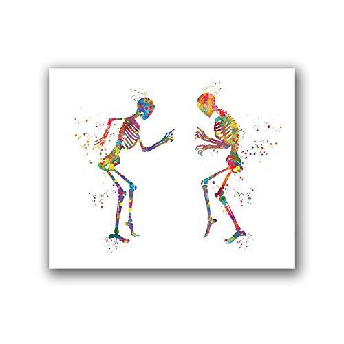 JXMK Anatomía Humana Cartel Dancing Bones Diversión Impresión Médica Regalo Ortopédico Regalo Color Arte Lienzo Pintura Clínica Decoración de Pared