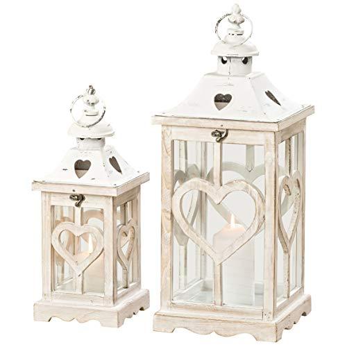 Home-Shop - Set di 2 lanterne in legno bianco effetto shabby