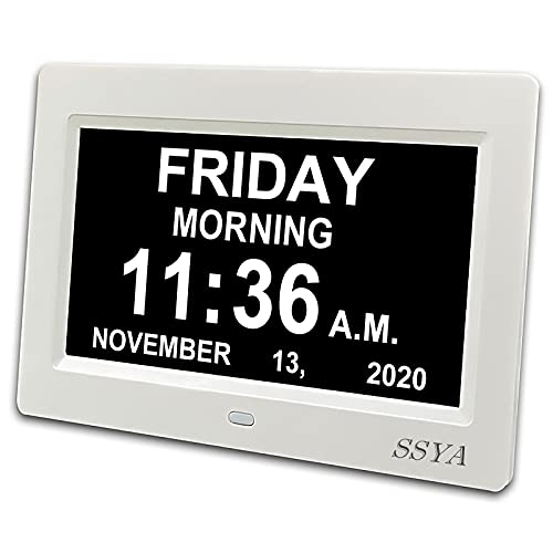 SSYA Digital Calendar Alarm Day Clock - 12 Alarm Options, Level 5 Auto Dimmable, Dementia Clocks for Vision Impaired, Elderly, Memory Loss Clock with...